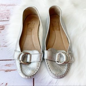 J. Crew Metallic Silver Leather Loafers